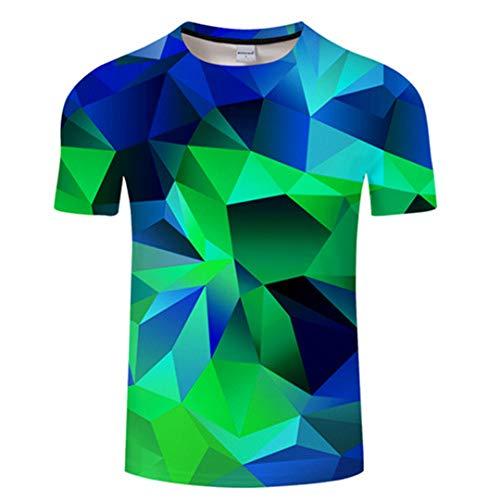 Kisbcynesting Geometria 3D Uomini della Maglietta Maglietta Estate Maglietta Casuale delle Parti Superiori Manica Corta Tees Maschio T-Shirt Abbigliamento Via Verde TX473 Asian S
