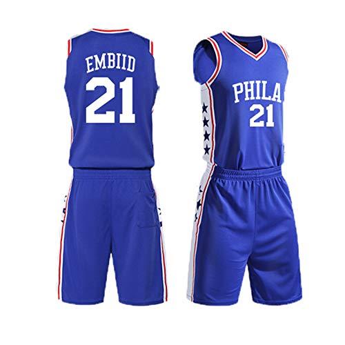 PUPPYY Temporada Regular 76ers 21# Conjunto De Camiseta De Baloncesto Embiid, Uniforme De Entrenamiento De Baloncesto Transpirable Unisex, Chaleco Deportivo M