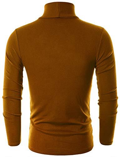 OHOO Hommes Slim Fit Coton Pull À Col Roulé Léger Dct005-Camel X-Large