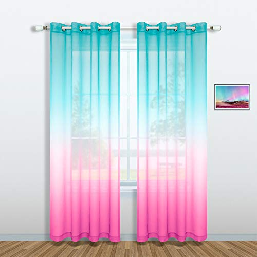 Pink and Turquoise Curtains for Bedroom Decor Set 1 Window Sheer Panel Grommet Semi Voile Drapes Ombre Mint Aqua Mermaid Curtains for Living Room Girls Decorations Kids Nursery 52 x 84 Inches Long