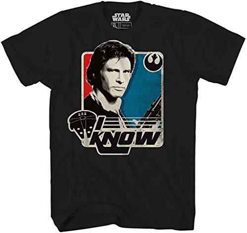 STAR WARS Han Solo I Know Princess Leia Millennium Falcon Funny Humor Pun Mens Adult Graphic Tee T-Shirt (Large) Black