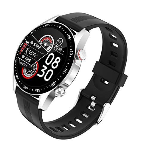 JXFF E1-2 Smart Watch Smart's Bluetooth Llamada Monitor De Ritmo Cardíaco Monitor De Mensaje Recordatorio Pantalla Táctil Completa Impermeable Smartwatch para Android iOS Sports Fitness Tracker,G