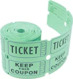 Tacticai 200 Green Raffle Tickets (8 Colors Available) for Events, Entry, Class Reward, Admittance, or Fundraising, Tear Away Tickets, Brightly Colored Paper (Double Roll - Keep) - Made in USA