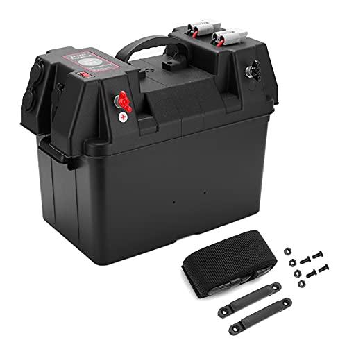 Akozon Battery Power Station, caja de batería de 12 V, centro de alimentación, puerto USB con voltímetro, enchufe para encendedor de cigarrillos para barco, remolque, batería, centro de alimentación