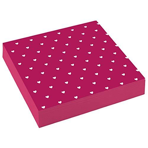 NET TOYS 20 Romantische Servietten mit Herz-Motiv - Pink 33x33cm - Außergewöhnliche Party-Deko Papierservietten Liebe - EIN Highlight für Hochzeit & Valentinstag