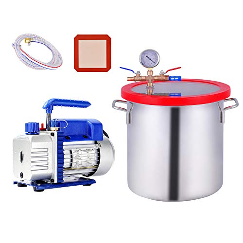 3 Gallon Vacuum Chamber, Heavy Duty Stainless Steel Degassing Chamber Kit with Upgraded 3 CFM 1/4HP Vacuum Pump (3CFM Pump Without Oil + 3Gallon Vacuum Chamber Not for Stabilizing Wood)