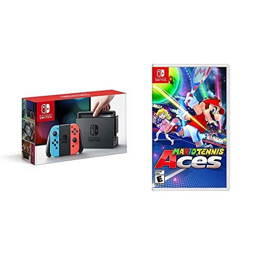 Nintendo Switch Neon + Mario Tennis Aces - Mario Tennis Aces Bundle...