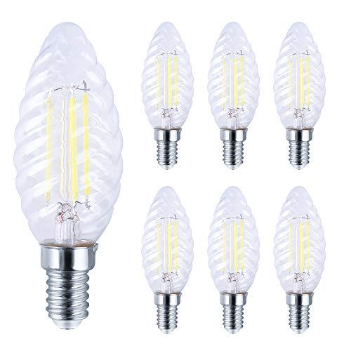 Bombillas LED E14 Vintage Filamento Velas Bombilla 6W Luz Fria 6500K , E14 LED de Alta Eficiencia y Ahorro de Energía 600LM, Pack de 6 Unidades