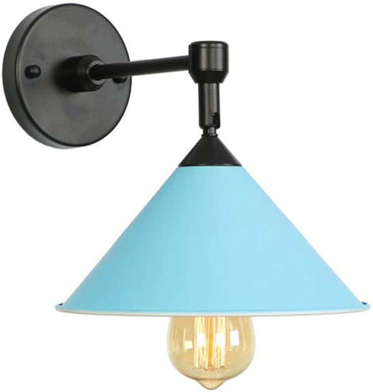 HBLJ  Moderne Macaron LED Wandleuchte Nordic Schlafzimmer Nachttischlampe Wandleuchte Kreative E27 1-Light Eisen Wandleuchte für Restaurant Cafe Dekoration Beleuchtungskrper (Farbe  Blau)