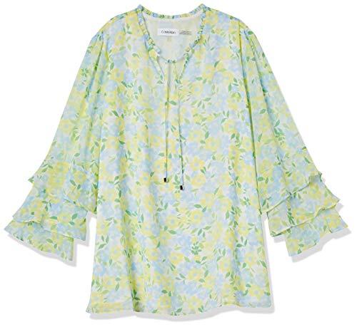 Calvin Klein Damen Short Sleeve Bluse, Cashmere CMB, X-Large