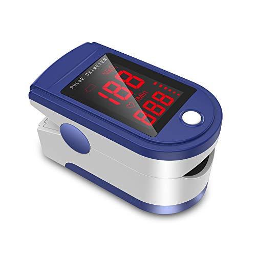 JUMPER Oxímetro de Pulso con Pantalla Grande Para Medir SpO2, Pantalla LED, índice de Perfusión y Frecuencia de Pulso en el Dedo, con Estuche, Baterías y Cordón (Azul)