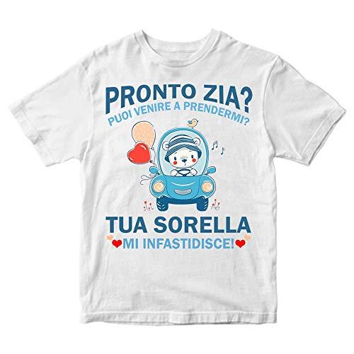 Maglietta Bambino Pronto Zia puoi Venire a prendermi? (Bianco, 1-2 Anni)