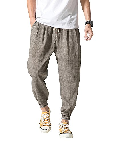 ShallGood Uomo Leggero Traspirante Tinta Unita Estivo Lungo Pantaloni Harem con Coulisse Grigio Large