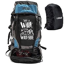 Mufubu Presents Get Unbarred 55 LTR Rucksack for Trekking, Hiking with Shoe Compartment (Black/Blue),MUFUBU
