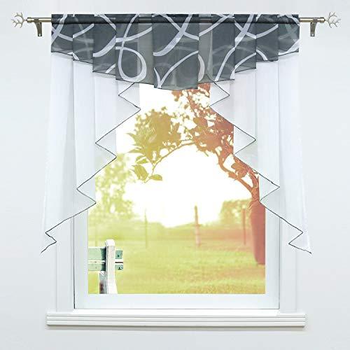 SCHOAL Scheibengardinen Küche Bistrogardinen Voile Transparente Kurzgardinen Kleinfenster Gardinen mit Kräuselband/Tunnelzug 1 Stück BxH 120x125cm Grau