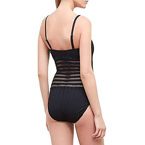 Kenneth Cole New York Women's Bandeau One Piece Swimsuit, Black // Crochet, Medium