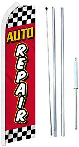 Auto Repair Red Yellow Super Complete Flag Sign Dedication New life Hybrid with