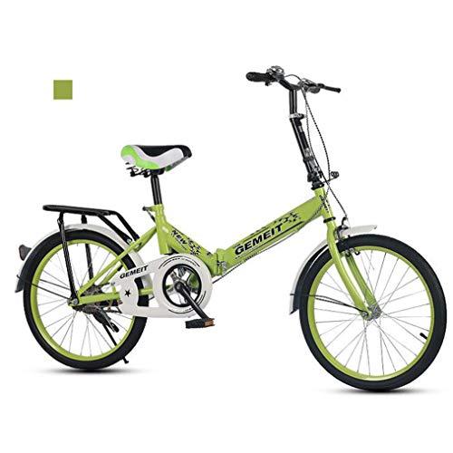 B-D Bicicletas Plegables De 20 Pulgadas Bicicleta Plegable Urbana Ligera para Mujer, Marco De Acero De Alto Carbono, Micro Bike Unisex para Estudiantes Y Oficinistas, 6 Opciones De Color,Verde