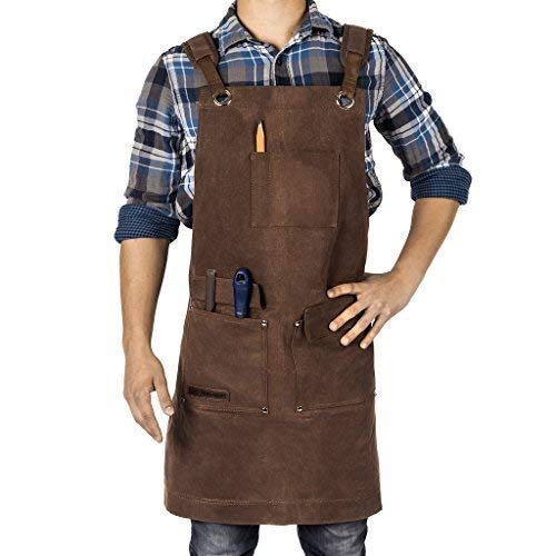 Woodworking Apron, Heavy Duty Waxed Canvas Work Apron With Pockets - M-XL Shop Apron for Men with Double Stitching, and Comfy Design - Brown, Adjustable Back Straps Texas Canvas Wares