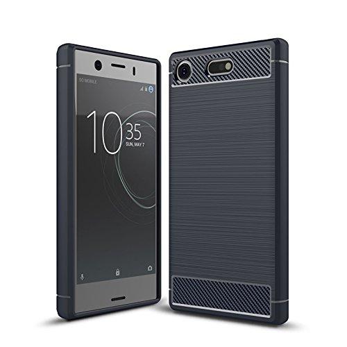 Cruzerlite Sony Xperia XZ1 Compact Funda, Carbon Fiber Shock Absorption Slim TPU Cover Funda For Sony Xperia XZ1 Compact (2017) (Blue)