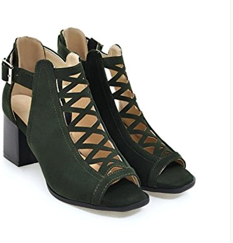 WHW Women's Summer Comfort PU Casual Flat Heel Low Heel Fish Mouth Sandals