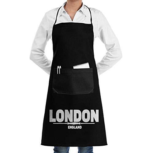 Lsjuee London England Delantales Unisex para Mujer Hombre Delantal de Chef para Delantal de Cocina Bolsillos