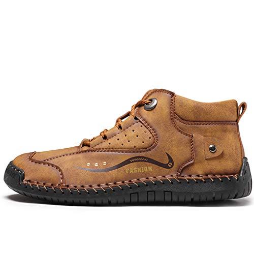 Flache Freizeitschuhe Herren Handgenähte Lederschuhe Britischen Stil Bequeme Faule Schuhe, Gelb, 43 EU