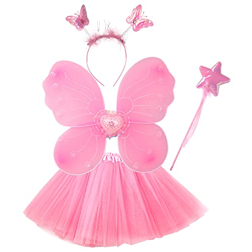 KEESIN Kinder Fee Prinzessin Kostüm Enthält Schmetterlingsflügel, Tüllrock, Zauberstab und Stirnband, Feenkostüm-Set für 3-7 Jahre alte Kinder Mädchen (Rosa)