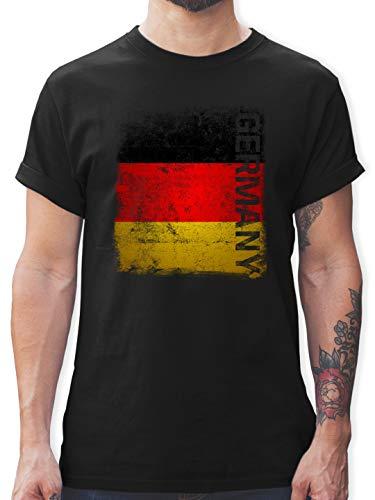 Fussball EM 2021 Fanartikel - Germany Vintage Flagge - M - Schwarz - Deutschland Flagge Shirt Herren - L190 - Tshirt Herren und Männer T-Shirts