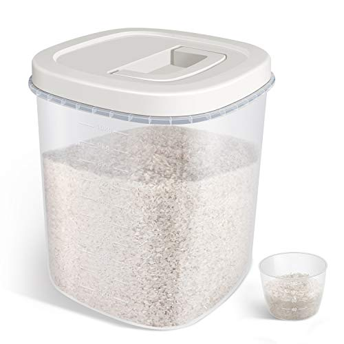TBMax Large Airtight Food Storage Container - 20 Lbs Rice Container Bin with Measuring Cup - Perfect for Rice Flour Cereal Bread Storage