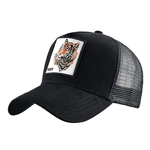 Gorra de béisbol de algodón Bordado Animales Gorra de béisbol Unisex (Color : Black, Size : 56-60cm)