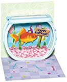 Pop Up 3D Geburtstag Mini Grußkarte PopShot Happy Birthday Goldfisch im Aquarium 7,6x7,6cm