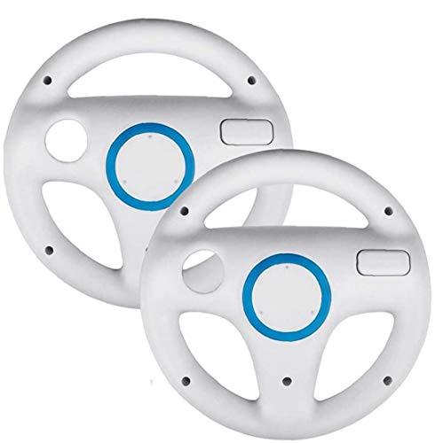 OMMO LEBEINDR 2 Dirección Paquete de Ruedas Juego para Mario Kart Wii, Juego para el Volante de Carreras Mario Kart Ajuste para Nintendo Wii (Blanco)
