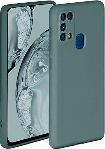 ONEFLOW Soft Hülle kompatibel mit Samsung Galaxy M31 Hülle aus Silikon, erhöhte Kante für Displayschutz, zweilagig, weiche Handyhülle - matt Petrol