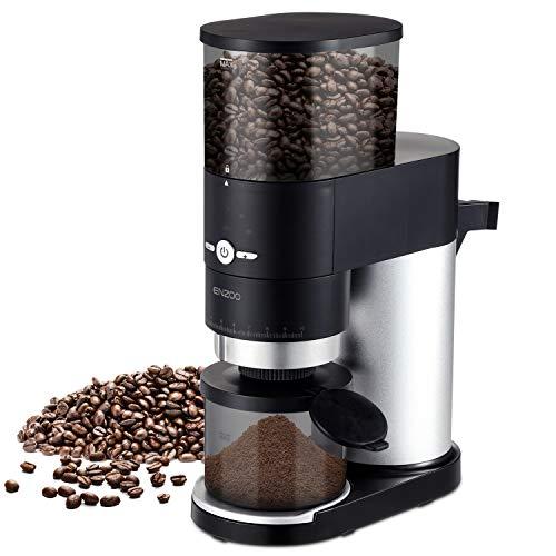 ENZOO Burr Kaffeemühle, konische elektrische Kaffeemühle mit abnehmbarem Design für einfache Reinigung, Siebträger-Aufsatz, integrierter Timer, Reinigungsbürste und Messschaufel inklusive, schwarz