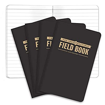 "The Indestructible, Waterproof, Tearproof, Weatherproof Field Notebook - 3.5""x5.5"" - Black- Lined Memo Book - Pack of 4"