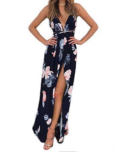 YOINS Sommerkleid Damen Sexy V Ausschnitt A-Linie Kleid Träger Rückenfreies Kleider Strandkleider Maxikleid Ärmellos Blumen Blumen-03 L