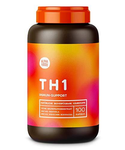 TH1 Immunsystem | Abwehrkräfte Intensivkur | Mit hochreinem Echinacea, Selen, Histidin, Grapefruitkernen | Hochdosierte, synergetische Wirkstoffe | 100 Kapseln