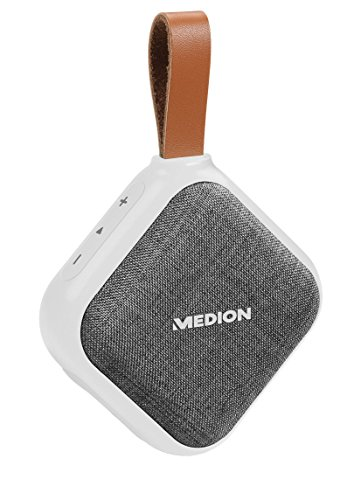 MEDION E65242 Bluetooth Lautsprecher (Bluetooth 4.1, Freisprechfunktion, Strahlwasserschutz IPX5, 30 Watt, Akku) weiß