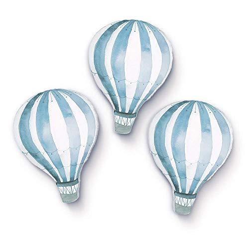 3 stuks ballonnen watercolor - heteluchtballon muurschildering, wanddecoratie voor kinderkamer Ballon blauw klein