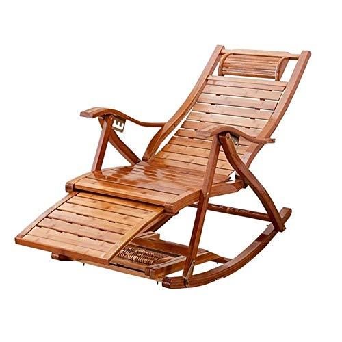 Tedyy Sedie a sedie reclinabili da giardino pieghevoli, sedie a sdraio regolabili con cuscino Sedia a dondolo Bamboo Salotto per patio o spiaggia spiaggia, balcone, parco o campeggio (colore blu)