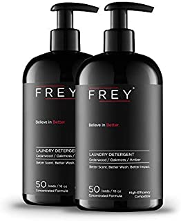FREY Concentrated Natural Laundry Detergent – 2 Pack, 100 Concentrated Loads of Long Lasting High Efficiency Liquid Laundry Detergent (Cedarwood)