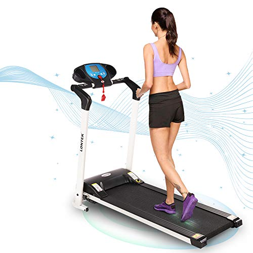 UMAY Folding Electric Treadmill for Home/Office, Portable Running Machine for Small Space with Large Screen & Device Holder, Easy Assembly Motorized Treadmills for Running and Walking