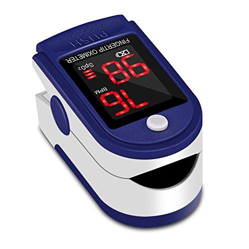 Oxímetro de Pulso Pulsómetro Dedo Digital Pulsioxímetro de Dedo Profesional con Pantalla LED, Medidor de Oxígeno en Sangre SpO2 y Monitor de Frecuencia Cardíaca para Uso Deportivo, Adultos y Niños