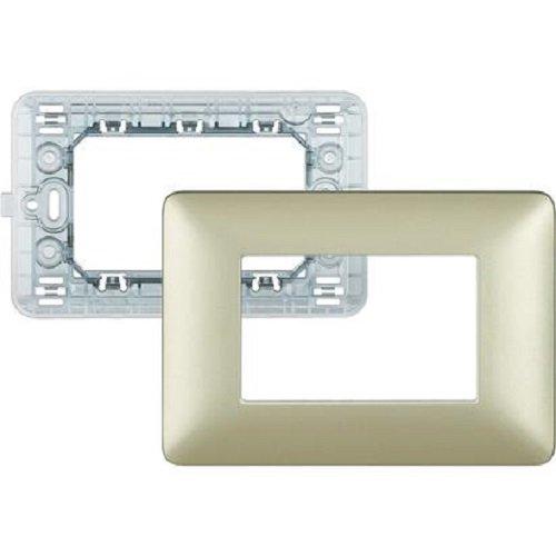 BTicino SAM4803MGL Matix Kit, Supporto e Placca a 3 Moduli, Gold, Oro