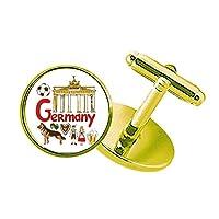 germary国家のシンボルマーク スタッズビジネスシャツメタルカフリンクスゴールド