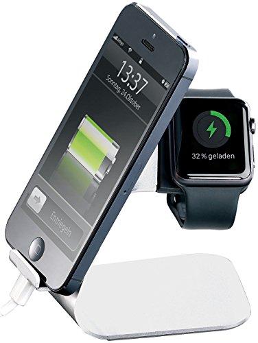 Callstel Apple Watch Ladestation: 2in1-Aluminium-Ladeständer kompatibel mit Apple Watch und Smartphones (Apple Watch Ständer)