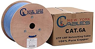 CAT6A Plenum (CMP) Bulk 1000ft Certified 100% Pure Solid Bare Copper Ethernet Cable [ETL Listed]   750MHz, 23AWG, UTP - Blue
