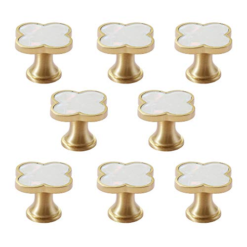 "RZDEAL 8Pcs 1.3"" Solid Brass Clover Knobs Bathroom Cabinet Knobs White Shell Decorated Kitchen Handles Brushed Gold Drawer Knobs and Pulls"