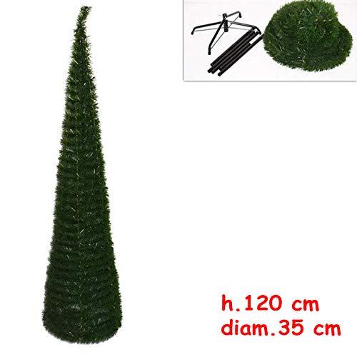 Albero di Natale Slim Richiudibile Pop-UP 120 cm Verde con Base a Croce in Metallo Decorazioni Natalizie Ø 35cm Conico